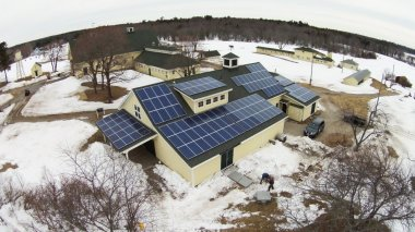 An array of solar panels will help provide electricity at Wells Reserve at Laudholm, which expects to derive all its electricity needs from the sun. Courtesy Photo by Bill Lord