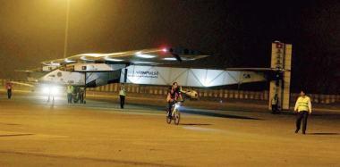 Solar Impulse 2 during its landing