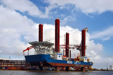 Wind Lift I, a special crane ship for installing offshore wind turbines. Photo by kaʁstn, Wikimedia Commons.