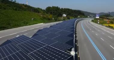 Korean solar bike lane.