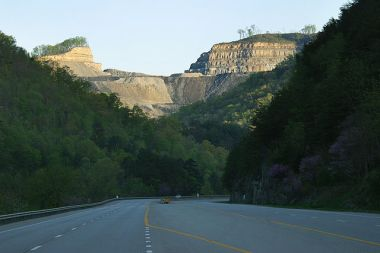 Mountaintop removal mine in Pike County, Kentucky just off U.S. 23. Photo by Matt Wasson, Wikimedia Commons.