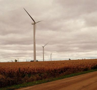 Wind turbines in the Thumb. Photo by No Trams To Lime Street from METRO DETROIT. Wikimedia Commons.