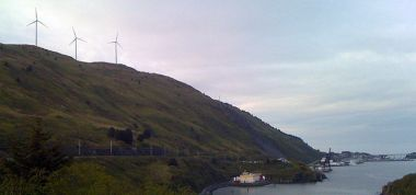Kodiak Island wind farm. Photo by James Brooks. Wikimedia Commons.