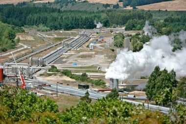 Geothermal plants do make steam, but not smoke. Wairakei Power Station in New Zealand. Photo by QFSE Media. Wikimedia Commons.