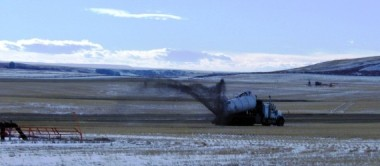 Fracking waste being spread on Albertan fields; natural gas facility fracking at Rosebud, Alberta