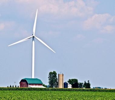 Wind turbine at farm.