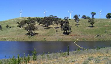Blayney Wind Farm, in New South Wales. Photo by Bren Barnes. Creative Commons Attribution-Share Alike 2.5 Generic license. Wikimedia Commons.