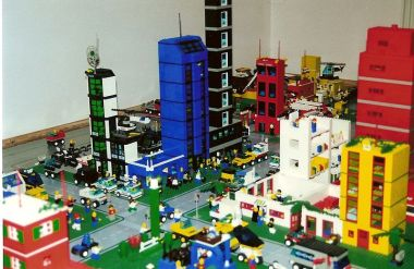 A Lego City. Photo by Michael Monahan. Put into the public domain by the author.