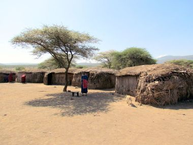 Massai village in Ngorongoro, Tanzania. Photo by David Berkowitz. Wikimedia Commons.