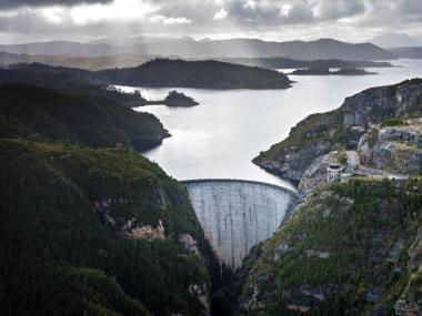 Hydro Tasmania's Gordon Dam on Lake Gordon in the South-West of Tasmania. Picture: Peter Mathew/Hydro Tasmania.