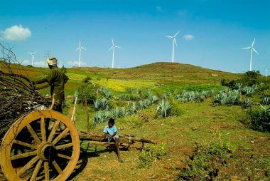 Field and wind turbines in India. Courtesy of Vestas. Creative Commons Attribution 2.0 Generic license. Wikimedia Commons.