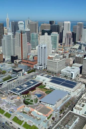 A solar installation at the Mascone Center in San Fransisco, built by Sunpower. Image source: Sunpower.
