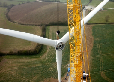 Low Spinney wind farm in England under construction (Broadview)