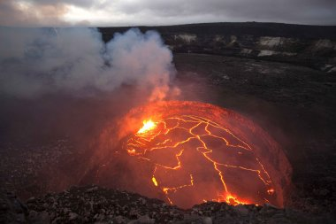 A lava lake inside Kilauea's overlook crater in 2008.