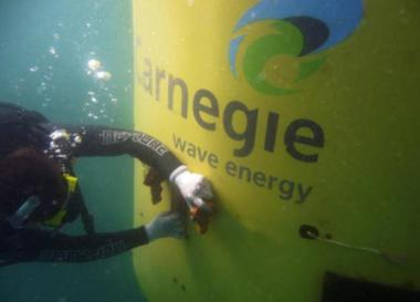 A diver works on a Carnegie CETO installation off Western Australia. (Image by Carnegie Wave Power)