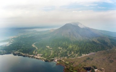 An aerial view shows Mt. Sakurajima in Kagoshima, southwestern Japan. Photo: Kyodo