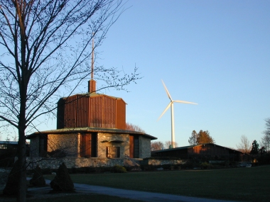 Portsmouth Abbey School wind turbine, in Rhode Island. US DOE photo. Public domain.
