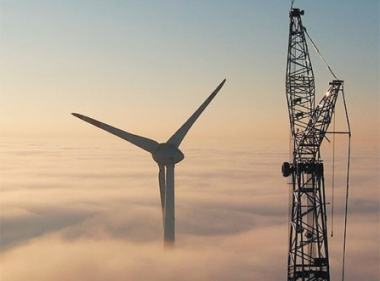 Wind turbine and crane.