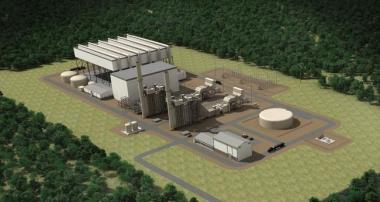 Artists rendering of the Clean River Energy Center, the 900-MW power plant proposed for Burrillville.