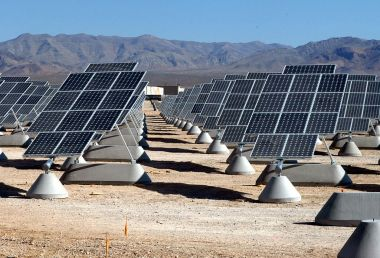 Solar array at Nellis Air Force Base. USAF photo. Public Domain. Wikimedia Commons.
