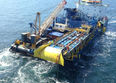 Image: VBMS's Stemat Spirit is laying the cables at Sandbank (RWE)