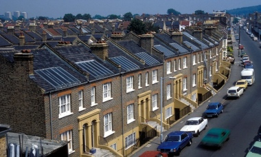 Solar panels on residential houses in East Dulwich, Southwark, South London. Photograph: Alamy