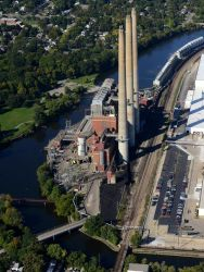 The BWL Eckert plant sits in between the Grand River and the GM Grand River assembly plant in this aerial photo taken Tuesday, September 22, 2015. Photo: Dave Wasinger/Lansing State Journal