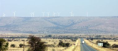 Portion of the Cookhouse Wind Farms in South Africa. Photo by NJR ZA. CC BY-SA 4.0. Wikimedia Commons.