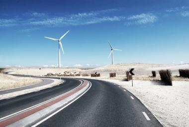 Wind turbines in an Australian desert.