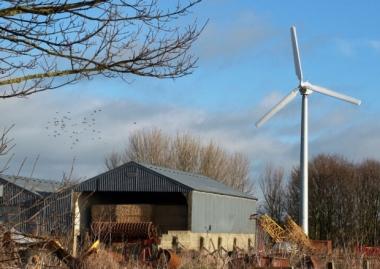 Wind turbine on the farm near to Dirleton Castle