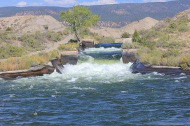 A power developer proposes to harness the power of tumbling water in a canal, to produce 990 kWh of electricity, or enough for 1,445 people. (Allen Best, Special to The Denver Post)