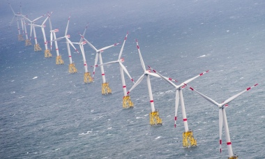 A windfarm off Sylt in Germany, which is outstripping the UK. Photograph: Daniel Reinhardt/EPA