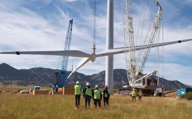 Erecting a wind turbine in Kenya.