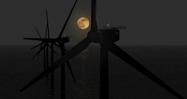 Offshore wind at night.