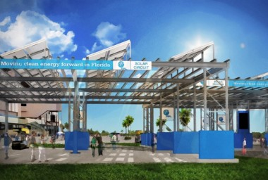 A total of 7,186 solar panels will make up the FPL Solar Pavilion and FPL Solar Patio. (Daytona International Speedway rendering)