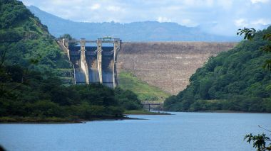 View of the Randenigala Dam and its spillways from downstream. Rantembe, Sri Lanka. Photo by Rehman Abubakr. CC BY-SA 4.0. Wikimedia Commons.