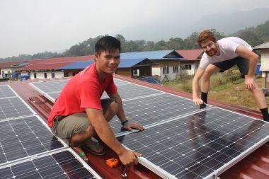 Solar panels being installed in Sarawak. Malaysian Insider pic by Renai Mattu.