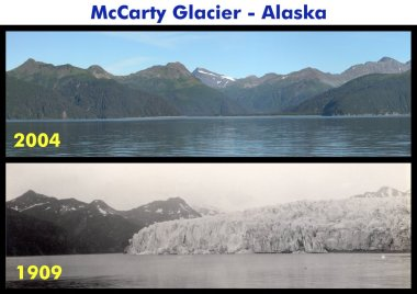 McCarty Glacier, in Alaska. These US government images are in the public domain. Wikimedia Commons.