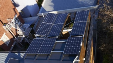 A solar-powered unit in East Melbourne. Councils are looking for ways to share solar power between residents. Photo: supplied
