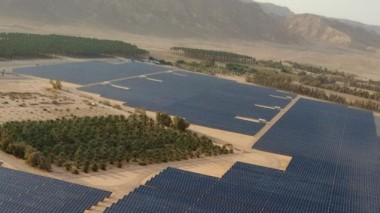 An aerial view of the 40 megawatt solar field recently built at Kibbutz Ketura, which provides the one third of the daytime electricity for the city of Eilat. (courtesy Gigawatt Global)