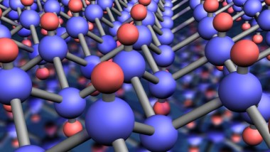 Molecular structure of a graphene crystal. Hydrogen atoms are red, and carbon atoms are blue.