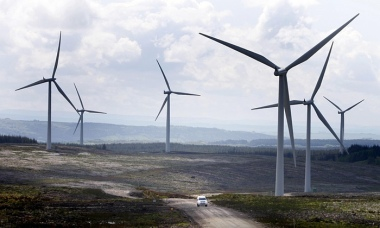 A wind farm in Scotland. The onshore wind power industry fears it is being sidelined by the government. Photograph: Danny Lawson/PA