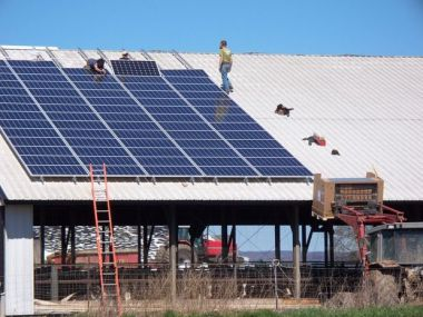 A 20 kWh solar panel system is installed on the south side of Han Breitenmoser's free-stall barn.