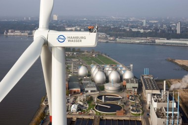 The 3 MW turbine at Hamburg Wasser, with plant in the background – Hamburg Wasser; Looking down at a PV Solar solar installation – Roy L Hales photo