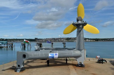 The DeltaStream is the first tidal energy generator to be deployed in Wales. Tidal Energy photo.