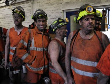 Britain's last coal miners. Photo by John Giles / PA via AP.