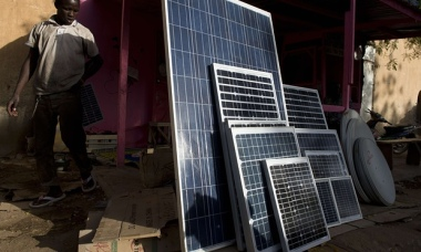 Solar panels on sale in a market in the northern Malian city of Gao, 2013. Photograph: John Macdougall/AFP/Getty Images