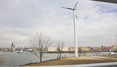 New York City's first commercial-scale wind turbine at the Sims Material Recovery Facility. (AP Photo/Bebeto Matthews)