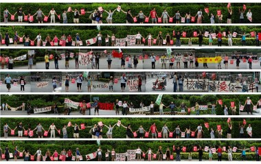 A collage of Taiwanese people holding posters protesting against nuclear power. Image: Hsiangfilm, CC BY-NC-ND 2.0