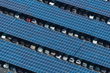 SunEdison solar parking canopies provide both shade for parked cars and cost-effective, clean solar energy.